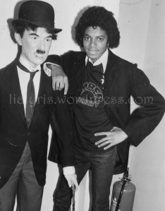 Michael Jackson dressed as his idol Charlie Chaplin in London